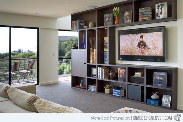 15 Ideas for TV Built-in Media Wall in Modern Living Rooms | Home Design Lover