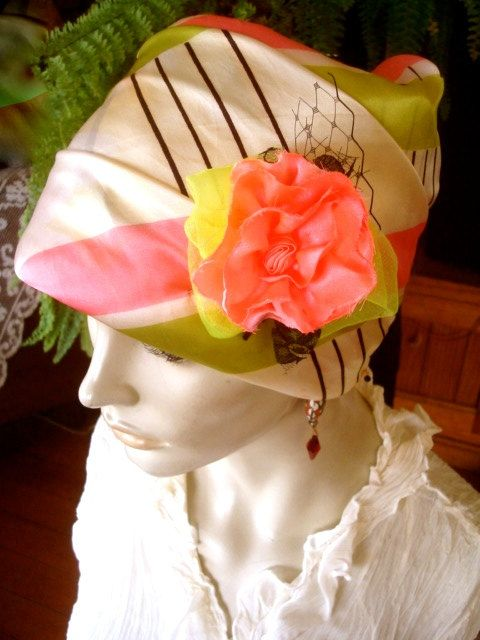 Womens chemo hat head cover art deco satin by GypsyLoveHeadbands