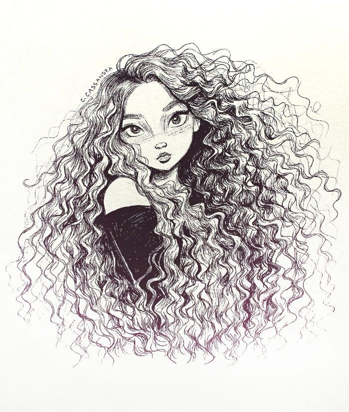 by C. Cassandra curly hair, sketch, drawing, illustration ...