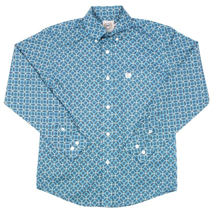 Cinch Boy's Long Sleeve Rosette Print Western Shirt