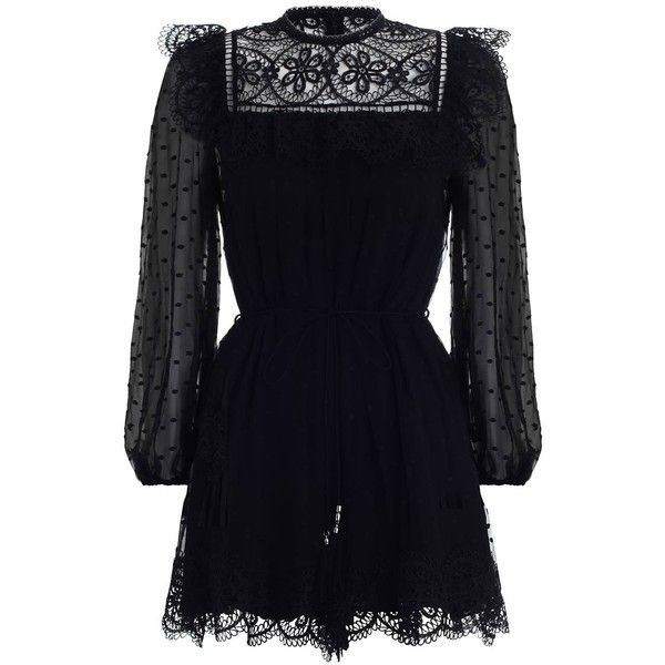 ZIMMERMANN Meridian Circle Lace Playsuit (6.341.650 IDR) ❤ liked on Polyvore featuring jumpsuits, rompers, playsuits, short sleeve rompers, lace ruffle romper, short romper, sheer romper and blue rompers