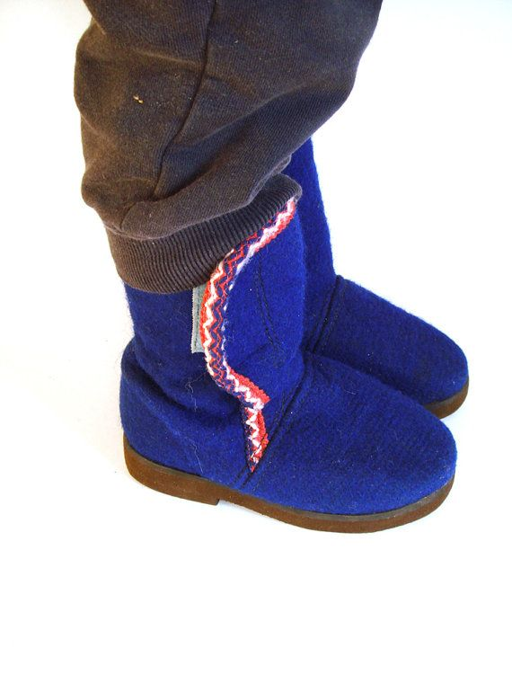 Winter boots for kids  Soviet blue felt  boots by GrandpasTreasury,