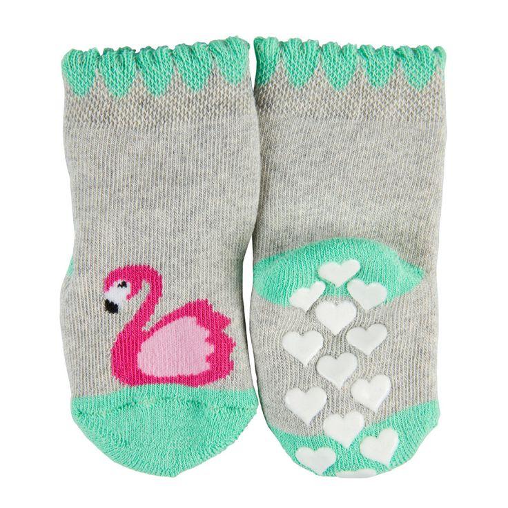 FALKE ABS Socken Flamingo storm grey #Babymode #Babybekleidung #Accessoires #Babygirl