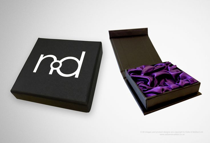 Rigid display box We used mounted black Colorplan with white foil and included a purple silk fitment for a luxurious finish with a magnetic closer.
