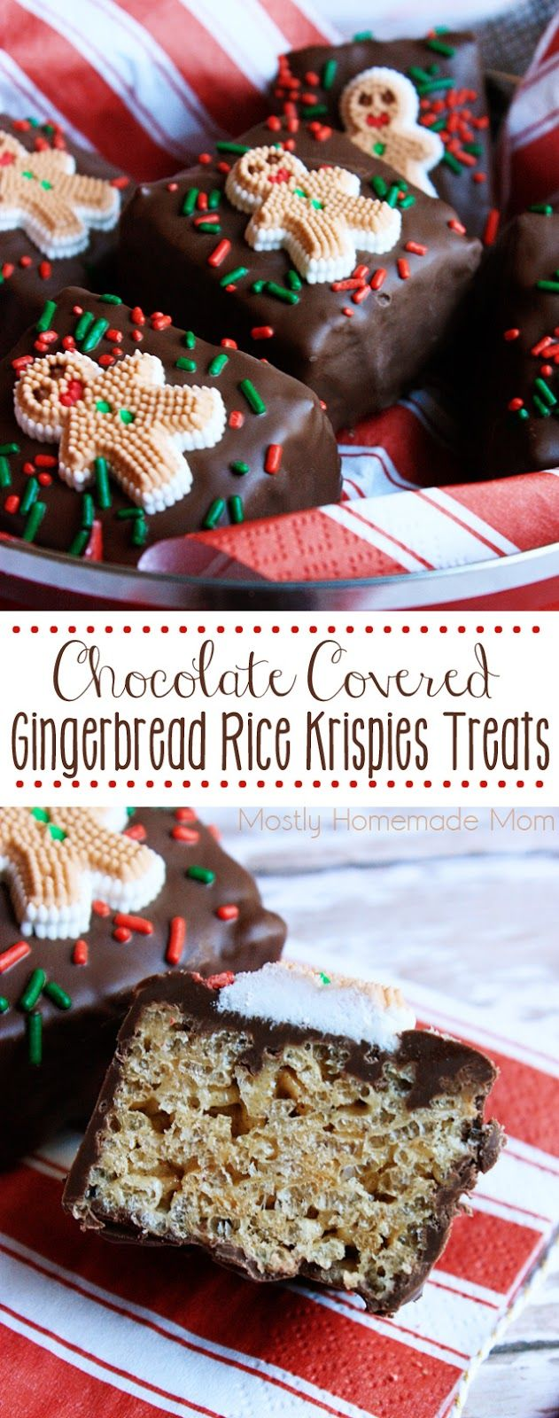 Chocolate Covered Gingerbread Rice Krispies Treats - Gingerbread cake mix and cinnamon are added to the classic Rice Krispies Treats® recipe, covered in chocolate and decorated with Christmas sprinkles - these are the perfect dessert for gift giving! @ricekrispiesusa #ad
