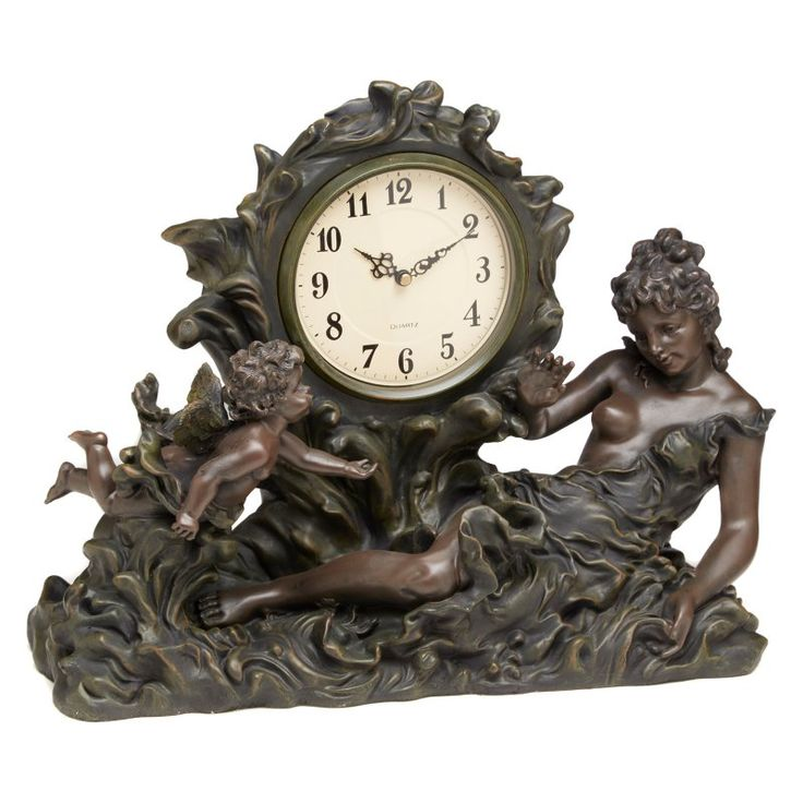 AA Importing Lady and Cherub in Wave Desktop Clock - 6577