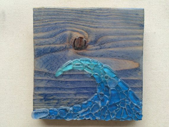 Real Sea Glass Art Ocean Wave Art Wave Wall Hanging Sea Glass Mosaic Surf  Art Glass Wave Decor Beach Glass Beach Art Beach House Decor Aloha