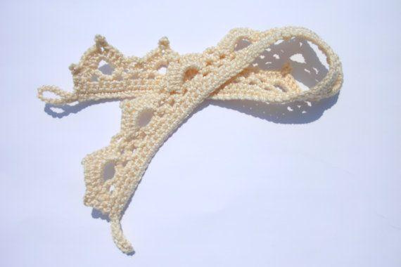 Curtain tie backs Set of two light beige by CrochetedCosiness
