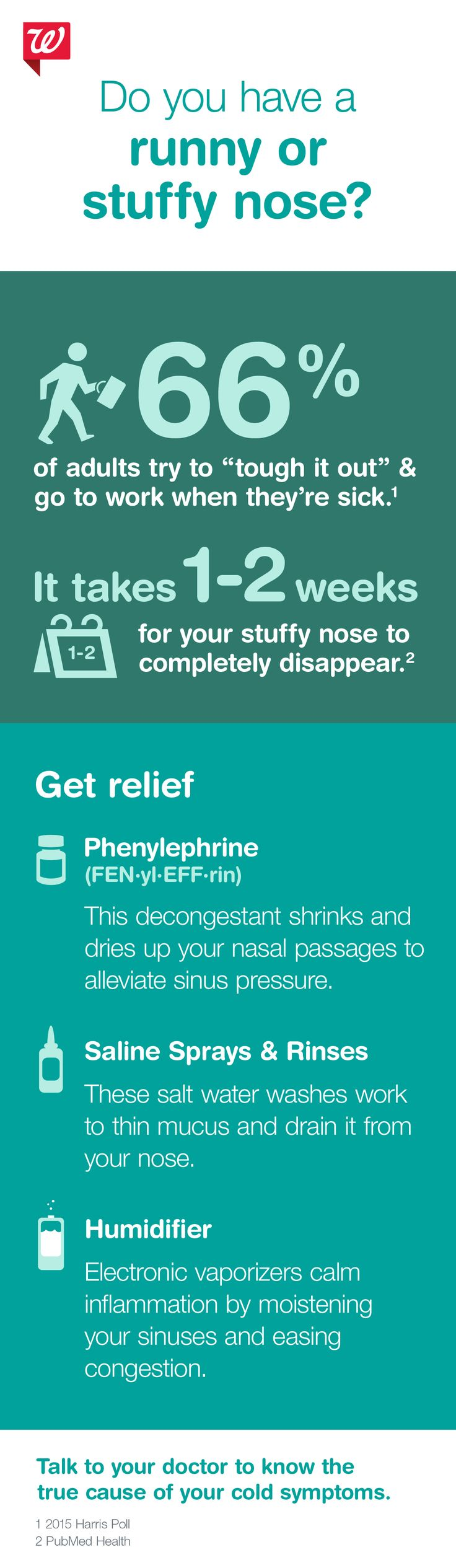 It may take about 2 weeks for your stuffy nose to clear out. Don't sniffle your way through it—find relief fast.