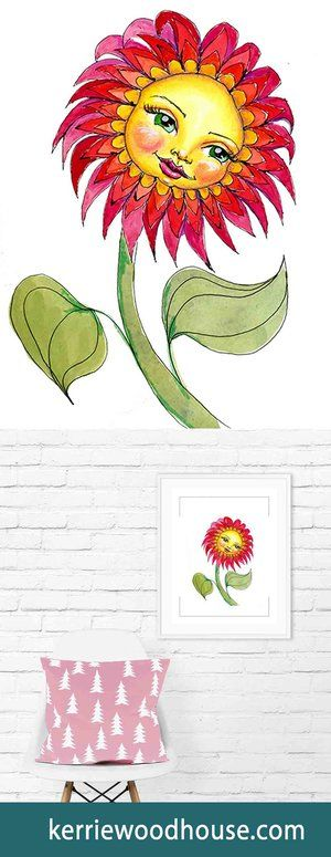 whimsical art print | kids decor | nursery art | red print | cute print | girls room | flower | floral print