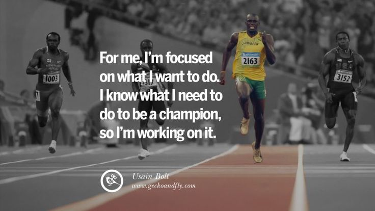 For me, I'm focused on what I want to do I know what I need to do to be a champion, so I'm working on it. - Usain Bolt Sprinter Motivational Inspirational Quotes By Olympic Athletes On The Spirit Of Sportsmanship facebook twitter pinterest