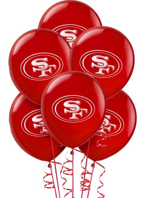 San Francisco 49ers Balloons 12in 6ct - Latex - Party City