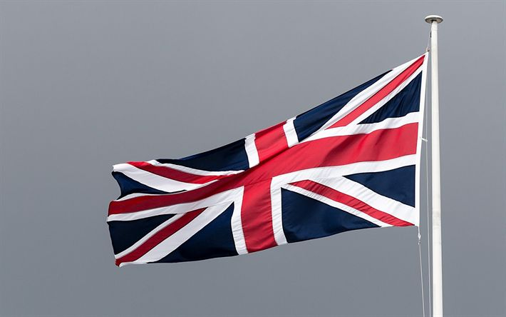 Download wallpapers British flag, flagpole, blue sky, textile flag, Flag of the Great Britain, United Kingdom flag
