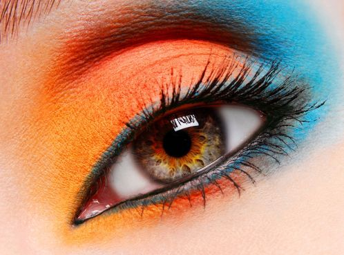 Love this combination.: Orange, Make Up, Eye Makeup, Eyeshadow, Blue, Color, Eyemakeup, Beauty, Hair