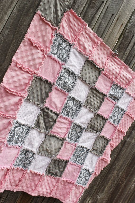 GORGEOUS Pink & Gray Damask Rag Quilt Blanket!  Simply Sweet baby girl nursery crib quilt/crib bedding!  Pink and gray nursery by BabyBazerk, $75.00