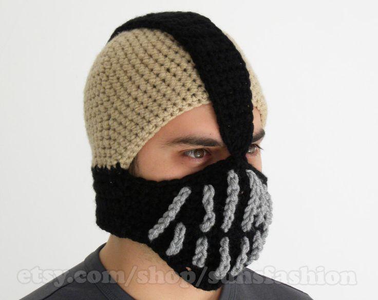 Bane Mask Batman Crochet Beanie Hat Slouch Mens Handmade Winter Men Snowboard Ski boyfriend gift by sunsfashion on Etsy https://www.etsy.com/listing/62449120/bane-mask-batman-crochet-beanie-hat