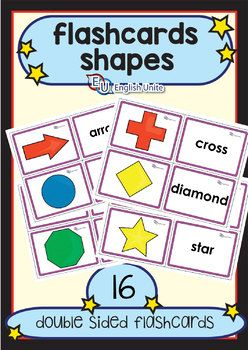 The Shapes Flashcards Pack contains 16 double-sided flashcards. Shapes included: arrow, circle, cross, diamond, heart, hexagon, moon, octagon, oval, parallelogram, pentagon, rectangle, square and star. Please click on the following links for related products: Shapes Coloring Book (free) Shapes Puzzles (free)