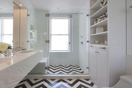 черно-белые полы в ванной