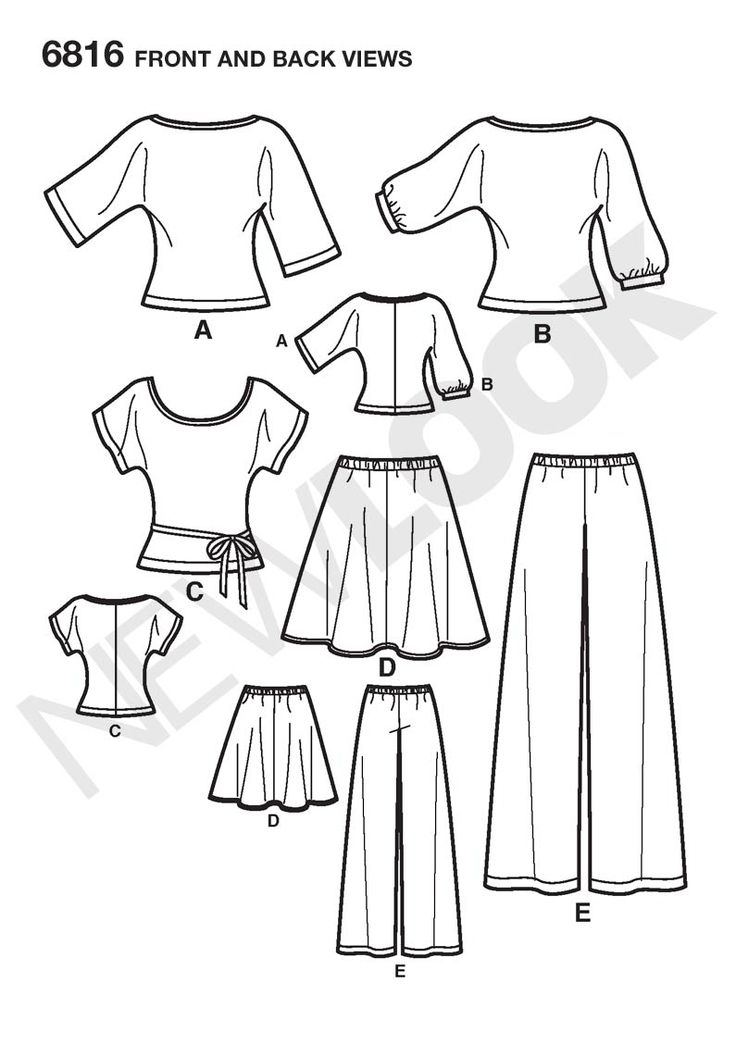 Womens Easy Two-Hour Skirt, Pants Sewing Pattern 6816 New Look: