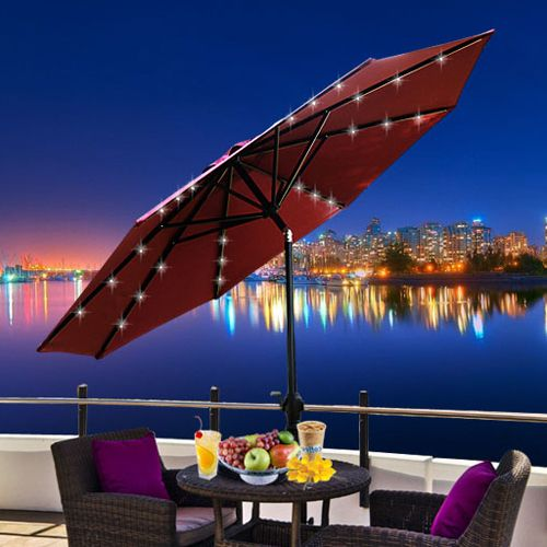 Outsunny 01 018 9 Ft Tilting Patio Umbrella With Solar Ed Led Lights
