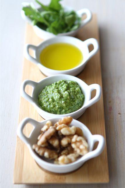 Baked Tilapia Recipe with Arugula Walnut Pesto & Breadcrumb Crust