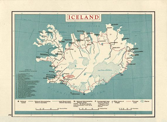 Map Of Iceland 1958.  Restoration Hardware Home Deco Style Old Wall Vintage Reprint.