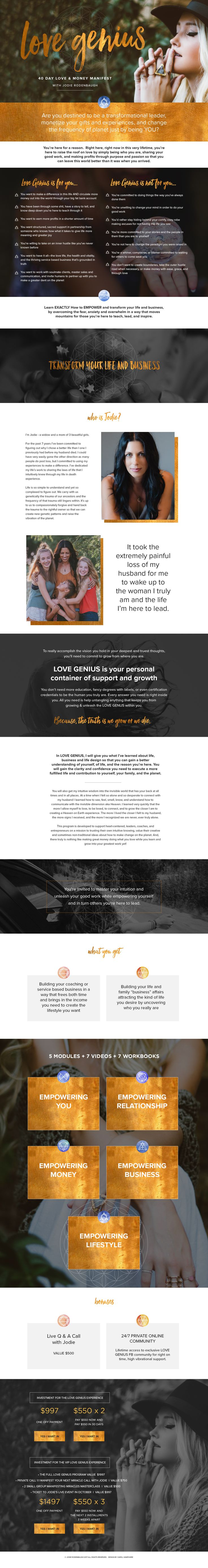 One of my sale page designs for Jodie Sutulovich Rodenbaugh's new online signature program - Love Genius. http://jodierodenbaugh.com/lovegenius/