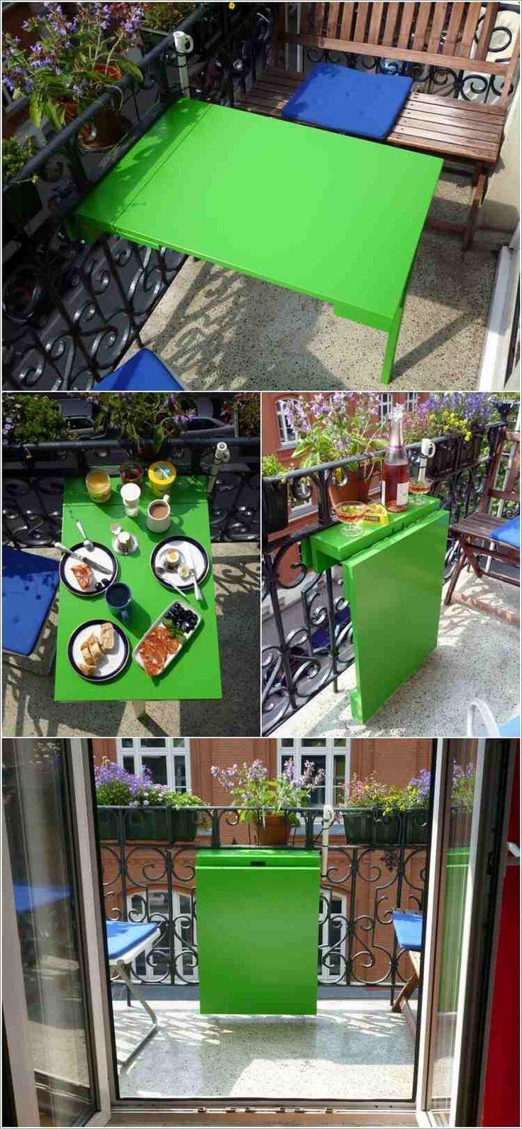 table de balcon rabattable repeinte en vert néon à faire soi-même