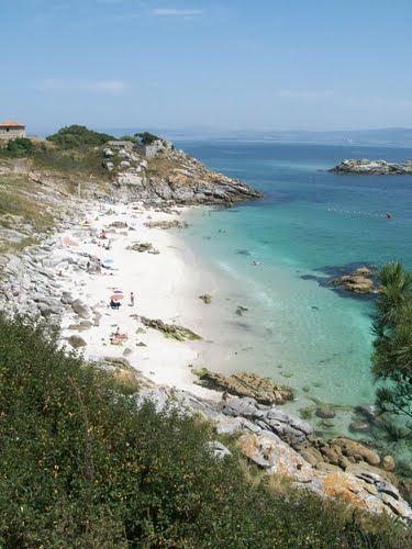 Named one of the most beautiful beaches in the world, the Rodas Beach, is located in the Cies Islands, Galicia, northern Spain. It is a private paradise, as there is a daily limit of 2200 visitors, so it's recommended to book in advance in the high season June, July and August.