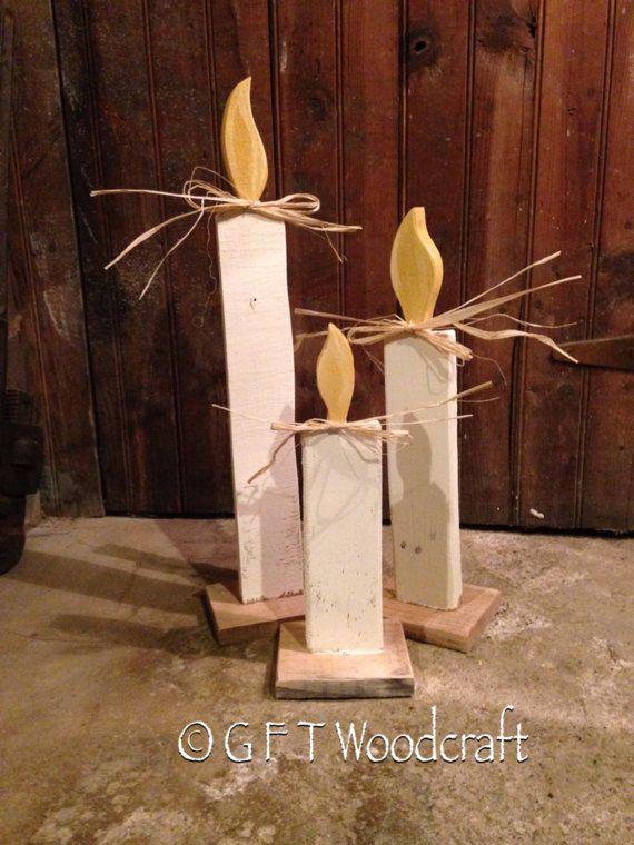 Vela de Navidad madera blanco Set decoraciones de por GFTWoodcraft                                                                                                                                                                                 Más