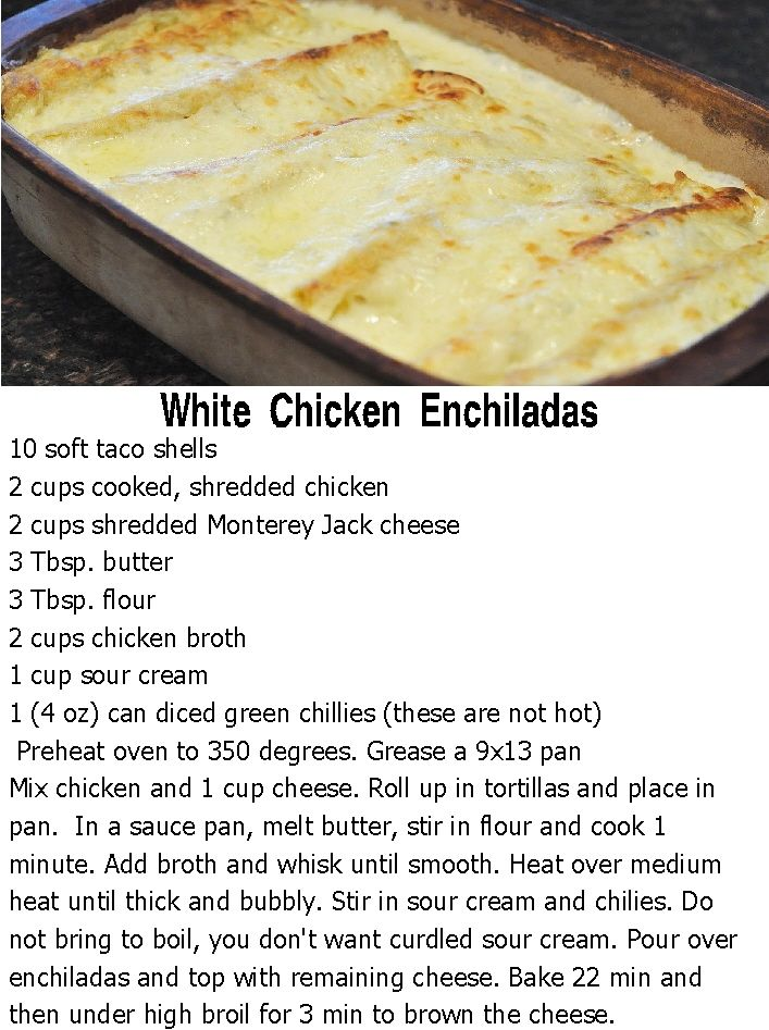 White Chicken Enchiladas  I have been looking for this recipe for the past 20…