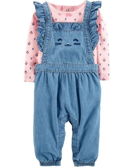 3e82cc8d5a136 Baby Girl 2-Piece Top & Overalls Set from Carters.com. Shop clothing &  accessories from a trusted name in kids, toddlers, and baby clothes.