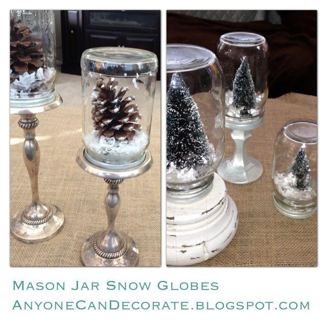 DIY Mason Jar Snow Globes - Anthropologie Inspired ( tutorial on blog…