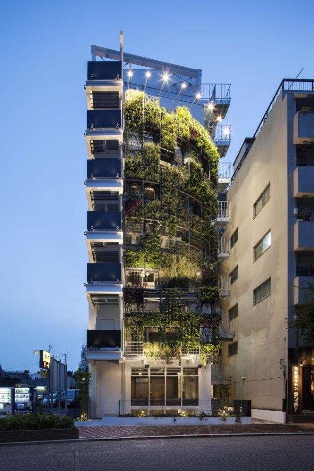 Great vertical garden on a building in Tokyo, by Edward Suzuki Associates.