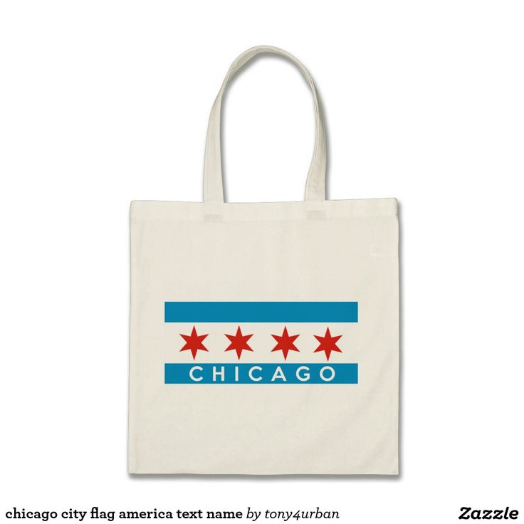 chicago city flag america text name tote bag