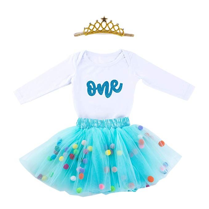 a43f57c82d41 Baby Girls 1st Birthday Outfit Glitter One Romper Balls Skirt Crown Headband  (Sky Green01, 12-18Months) #Beauty #beautiful #whattobuy #bestsale #cool  #gift ...