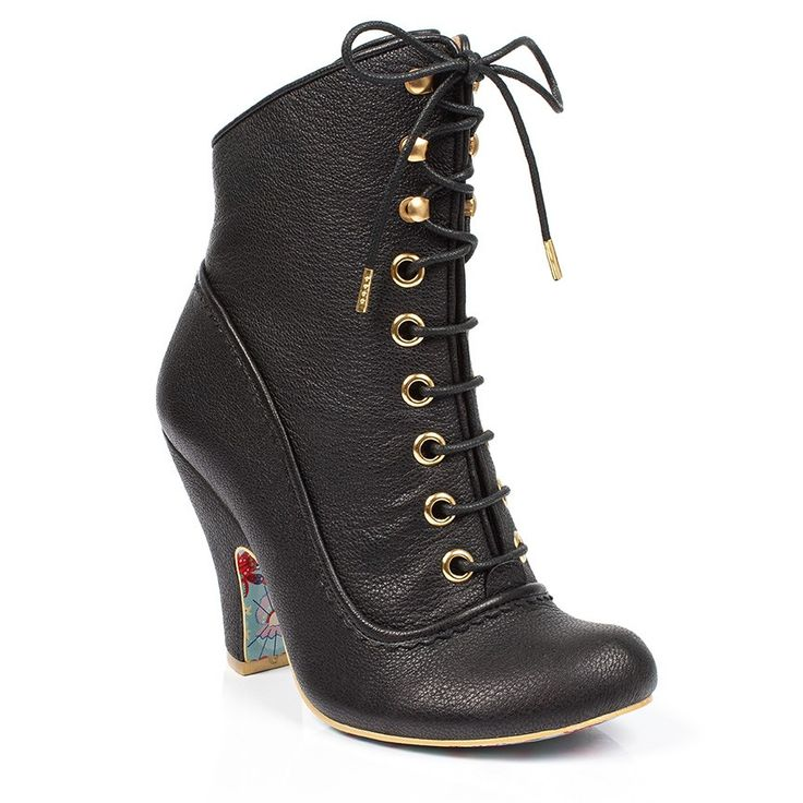 These elegant high heeled boots featuring black leather uppers with lace up fastening are classically classy.