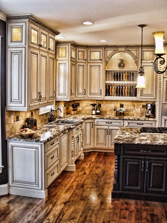 gorgeous distressed cabinets @ Interior Design Ideas