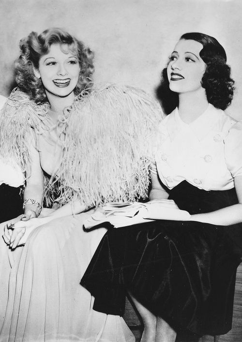Lucille Ball with Lily Pons on the set ofThat Girl From Paris(1936)