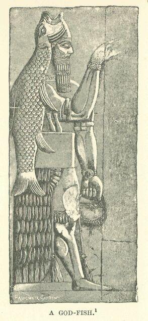 """Ancient 10 Card Tarot Spread Mat: Oannes. God Fish. From Wikipedia: """"Adapa As A Fisherman"""