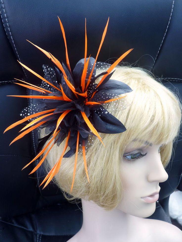 NEW BLACK ORANGE FLOWER FEATHER FASCINATOR HAT HEADPIECE EBFAS-005 £26.50 free pp