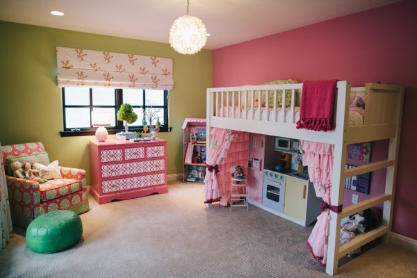Pink and green bedroom. Like the play kitchen under the bed.