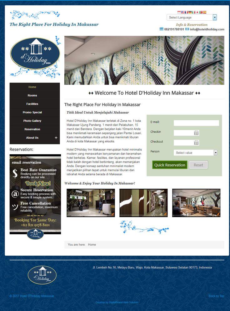 Hotel D'Holiday Makassar. Website Hotel dengan konsep simple elegan untuk profile hotel.