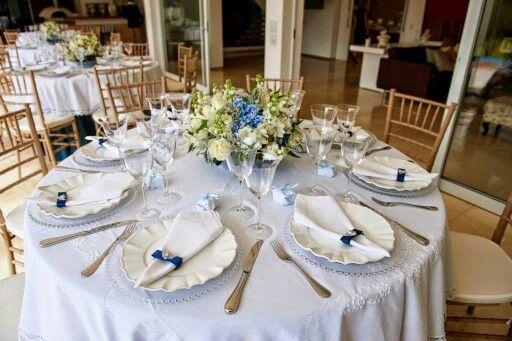 Mesa de convidados azul e branco Casamento Pinterest Mesas -> Enfeites De Mesa Para Casamento Azul E Branco