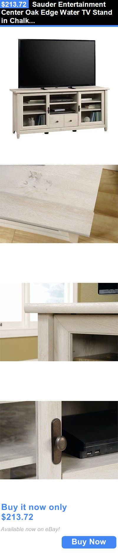 Entertainment Units TV Stands: Sauder Entertainment Center Oak Edge Water Tv Stand In Chalked Chestnut BUY IT NOW ONLY: $213.72