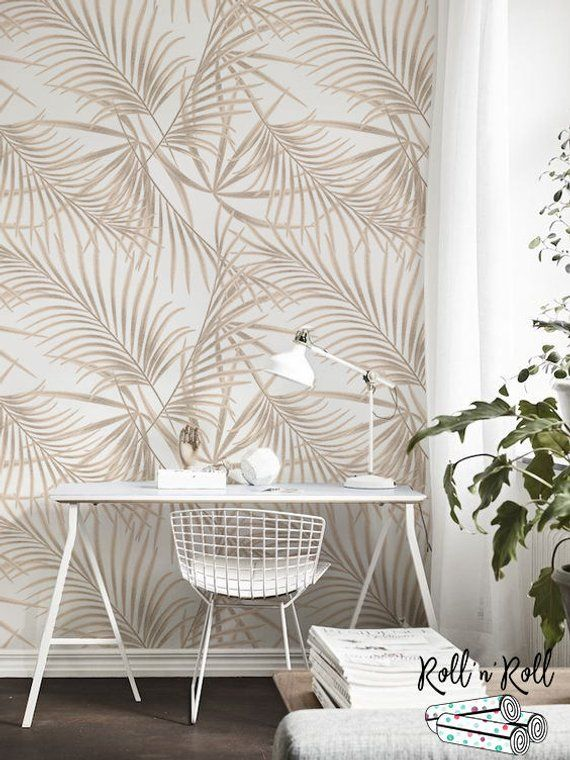 Gold Palm Removable Wallpaper Golden Leaves Tropical Wall Etsy Tropical Wall Decor Removable Wallpaper Wall Decor Bedroom