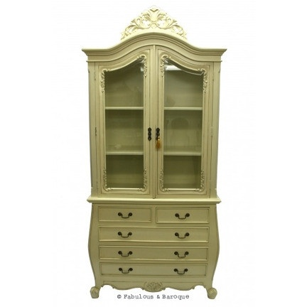 Veronique display cabinet on bombay chest ivory french for Baroque 2 door accent cabinet
