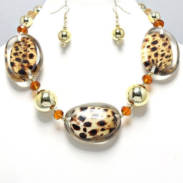 WHOLESALE Jewelry Necklace Earrings Set Big Chunky Leopard Lucite Bead Gold Ball #uniklookbijouxjewelry #necklacesearringsset