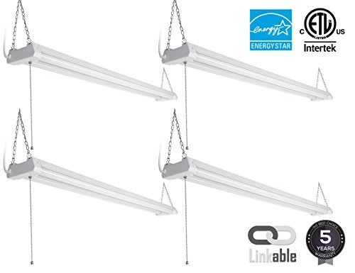 4-PACK 4ft 40W Linkable LED Utility Shop Light, 4100 Lumens, ETL Listed, Double Integrated LED Ceiling Fixture, 5000K Daylight, Pull Cord Switch, Garage/Basement/Workshop ** Click image to read more details. #LampLightingFixtures