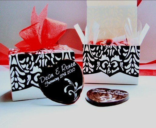 Wedding Chocolates - personalised, packaged in black and white damask box